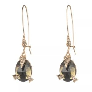 Alexis Bittar Gold & Olive Pavé Claw Drop Earrings
